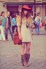 Light-brown-méliné-boots-ivory-molly-bracken-dress