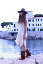 brown asos hat - ivory free people dress - dark brown Layer Boots sandals