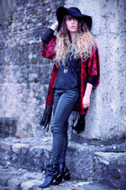 black Robert Clergerie boots - black H&M hat - red Topshop jacket
