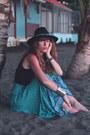 Black-missguided-hat-sky-blue-spell-designs-skirt