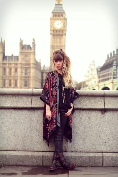 black allsaints boots - tawny Topshop coat - black Doll Poupée jacket