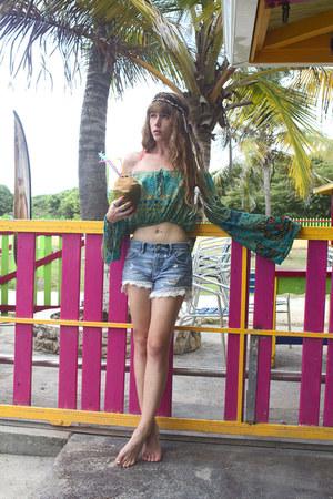 sky blue free people shorts - aquamarine Spell Designs top