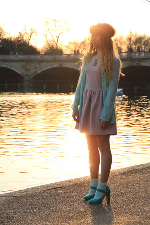 turquoise blue Primark heels - light pink Zara dress - light blue Zara shirt