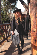 black Missguided hat - charcoal gray as 98 boots - silver the boho bazaar bag