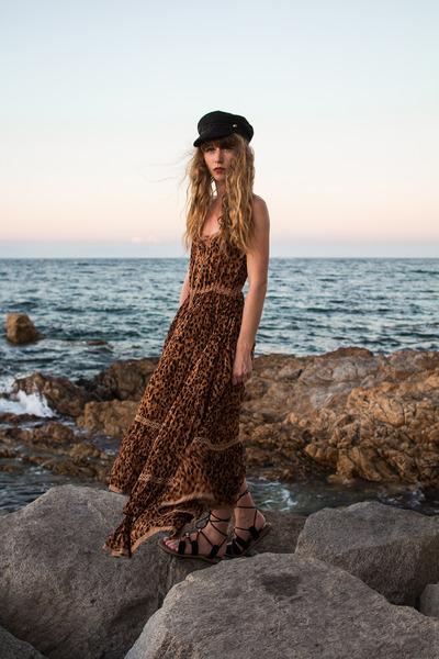 black asos hat - brown Spell Design dress - black free people sandals