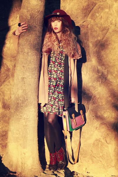 richelieu shoes - asos dress - Molly Bracken coat - Zara hat