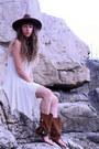 Ivory-free-people-dress-brown-asos-hat-dark-brown-layer-boots-sandals