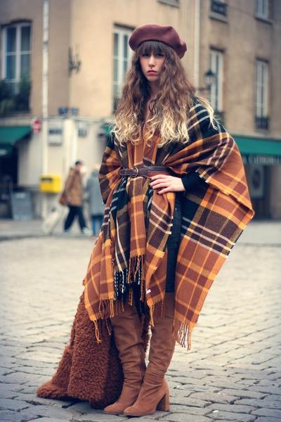 brown Zara boots - brown unknown hat - burnt orange Topshop cape