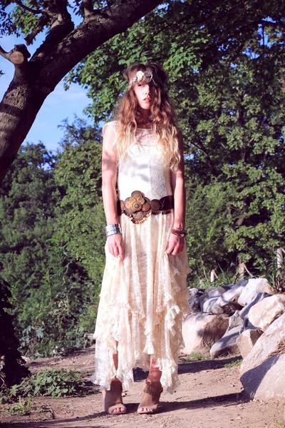 ivory free people dress - ivory free people dress - tan méliné wedges