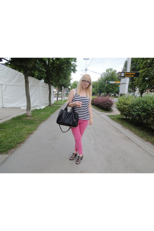 pink Zara pants - studded bag Ebay bag - black new look wedges - striped H&M top