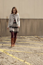 tawny vintage boots - black tree print Collective Concepts dress - heather gray