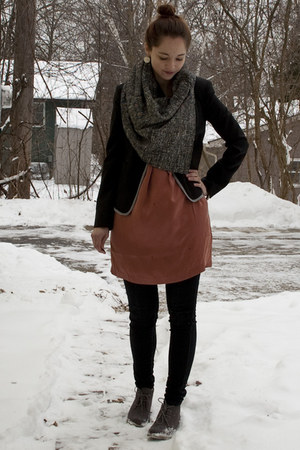 charcoal gray Forever 21 boots - burnt orange Joie dress - black Forever 21 jean