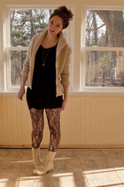 cream combat boots Forever 21 boots - black jersey banana republic dress - black