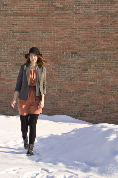 black short Chinese Laundry boots - burnt orange Joie dress - black Forever 21 h