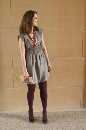 silver textured H&M dress - maroon opaque simply vera tights - light pink Foreve