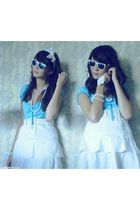 white skirt - blue vintage t-shirt - white Amisu sunglasses - white belt