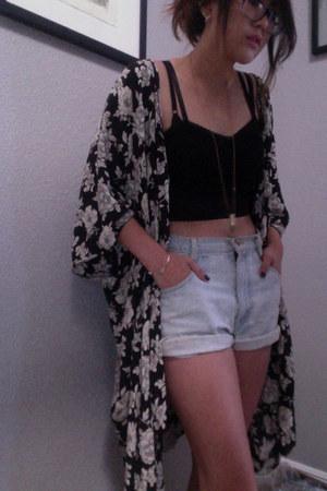 black kimono brandy melville cardigan - light blue high-waisted vintage shorts
