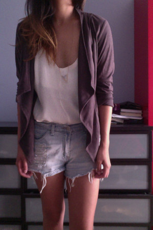 cream Forever 21 dress - gray suede brandy melville blazer