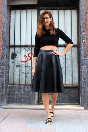 black Zara skirt - black Zara top