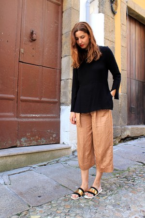 orange Zara pants - black Zara top