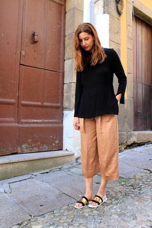 orange Zara pants - black Zara top