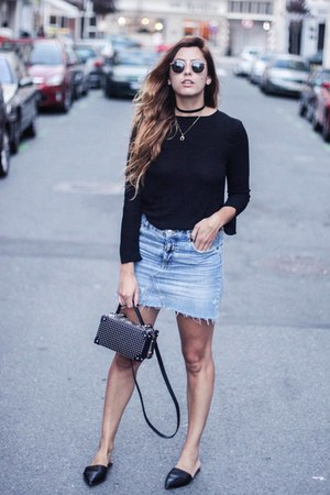 light blue Zara skirt - black Zara top