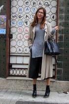 heather gray Zara blazer - black Zara pants