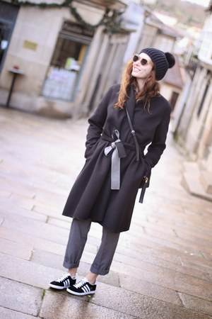 black Uterque coat - heather gray Zara pants - black Adidas sneakers