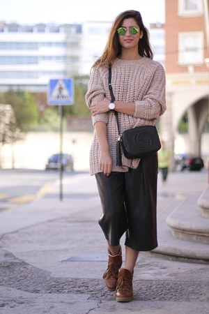 nude Zara sweater - bronze Ganni boots - black Zara pants