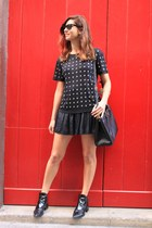 black Maje t-shirt - black Prada bag - black Zara shorts