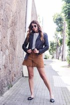 black Zara jacket - bronze Zara shorts