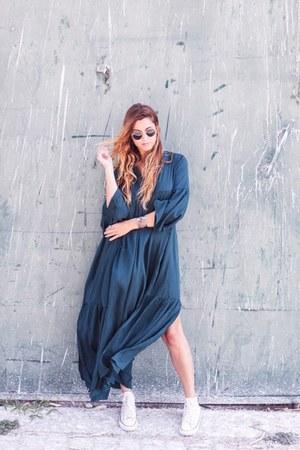teal shein dress