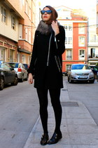 Zara coat - pieces scarf - black Uterque loafers