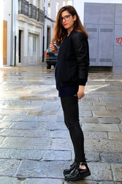 black Zara boots - black Zara jacket - black Mango pants