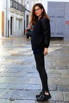 black Zara boots - black Zara jacket - black Mango pants