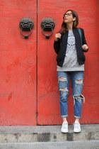 blue Zara jeans - silver Vero Moda sweatshirt - white Adidas sneakers