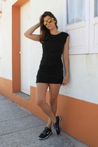 black Queens Wardrobe dress - gold Fendi sunglasses - black nike sneakers