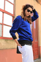 white Zara pants - black ray-ban sunglasses - blue SANDRO sweatshirt