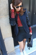black Zara jacket - black Zara skirt - white Adidas sneakers
