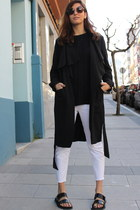 black H&M coat - white Zara pants - black sandals sandals