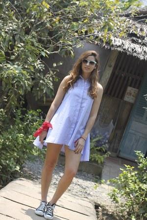 light blue Glamorous dress - red Zara bracelet