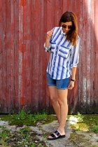 blue H&M shorts - sky blue Mango shirt
