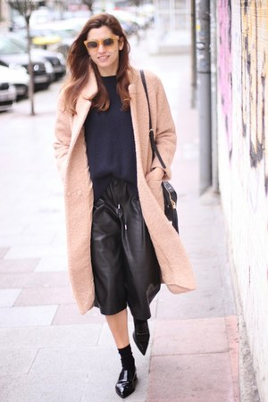 light pink Ganni coat - light orange Celine sunglasses - black Zara pants