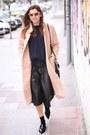 Light-pink-ganni-coat-light-orange-celine-sunglasses-black-zara-pants