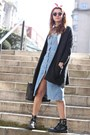 Light-blue-zara-dress-charcoal-gray-zara-cardigan-red-zara-hair-accessory