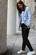 light blue Zara blazer - black Zara pants - white adidas stan smith sneakers
