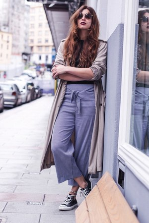 heather gray Zara jacket - brown Miu Miu sunglasses - sky blue Zara pants