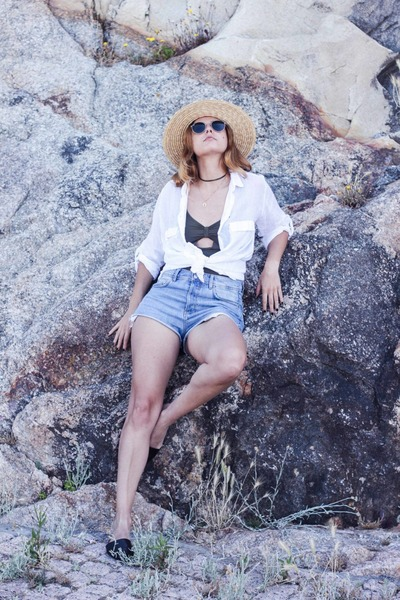 white Zara shirt - sky blue Zara shorts - charcoal gray TCN swimwear