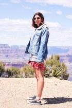 hot pink Zara dress - sky blue Zara jacket