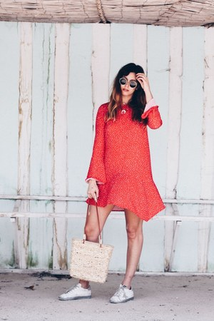 neutral Zara bag - red pull&bear dress - ivory Golden Goose sneakers